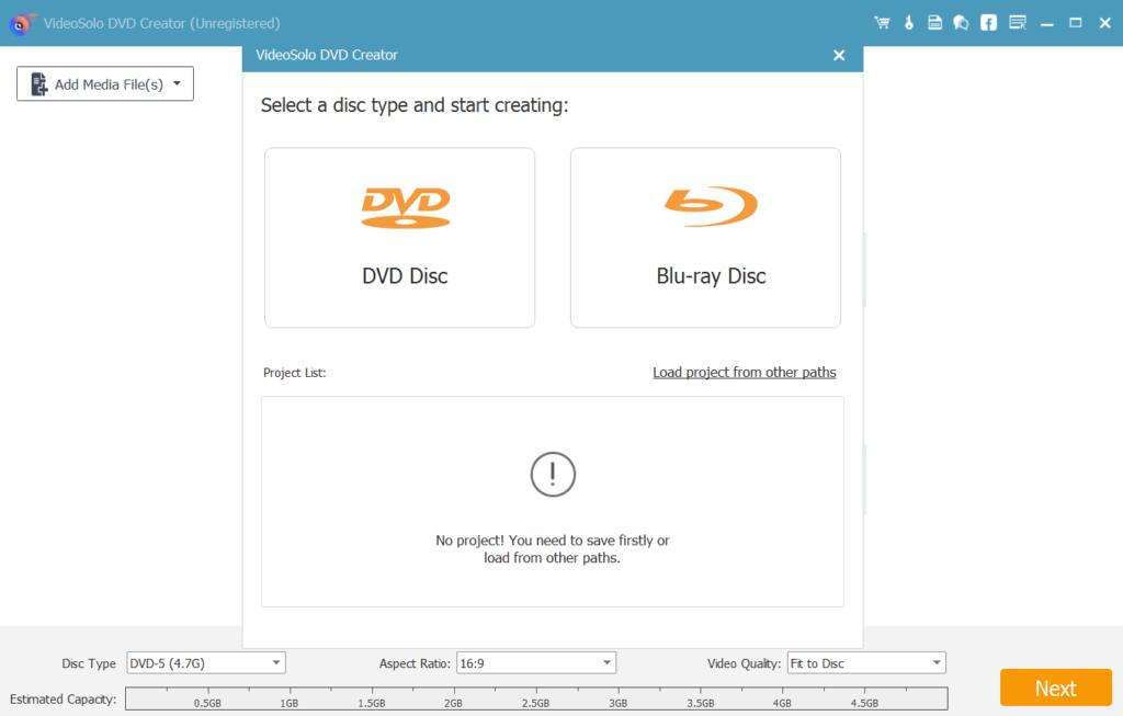 VideoSolo DVD Creator Начало работы