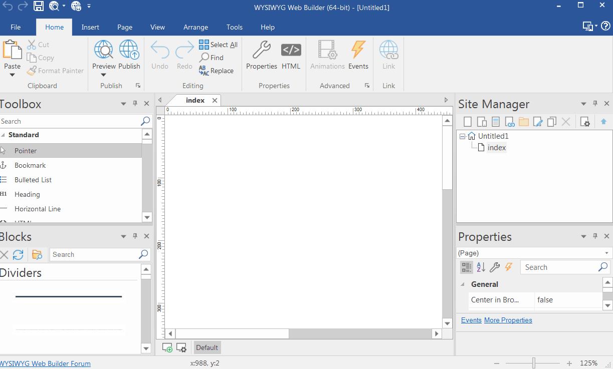 WYSIWYG Web Builder Главное меню