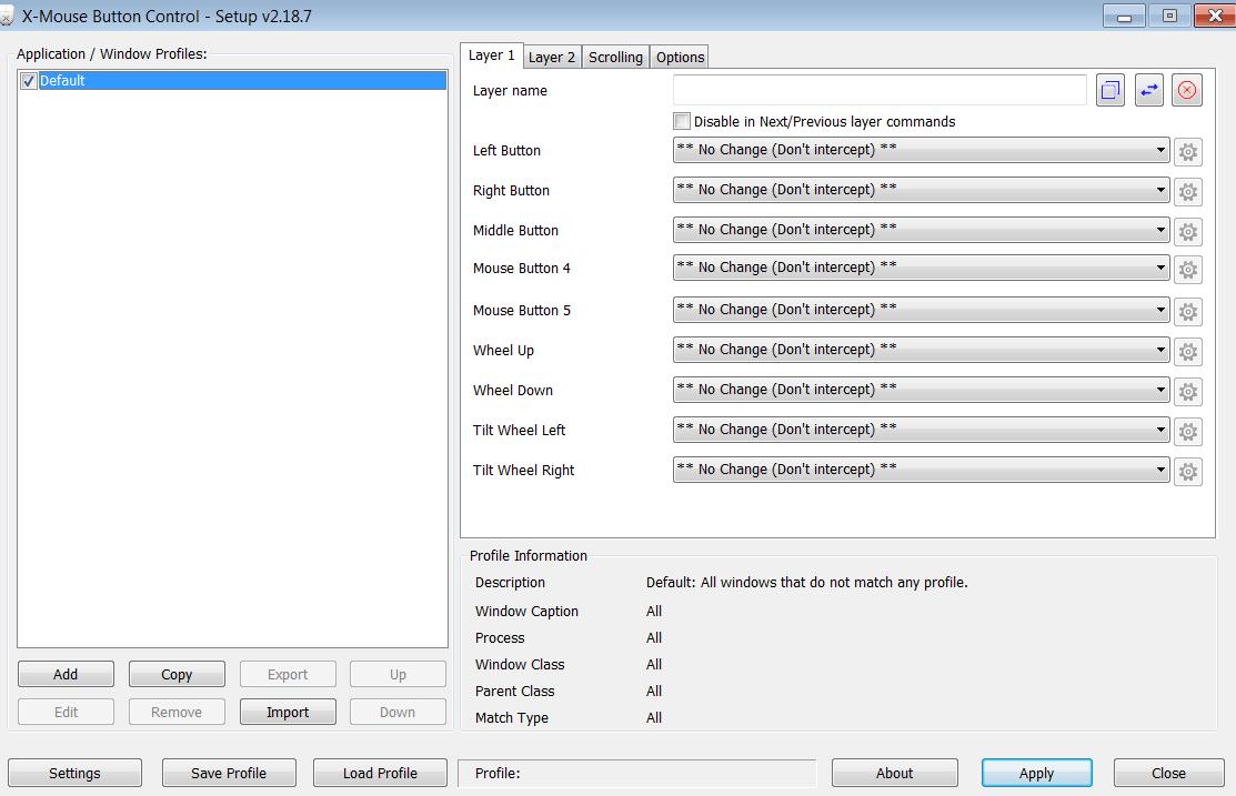 X-Mouse Button Control главное меню