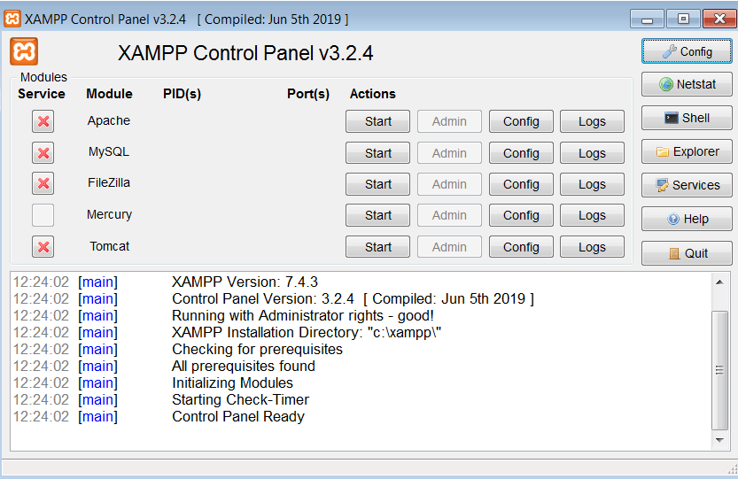 XAMPP Главное окно