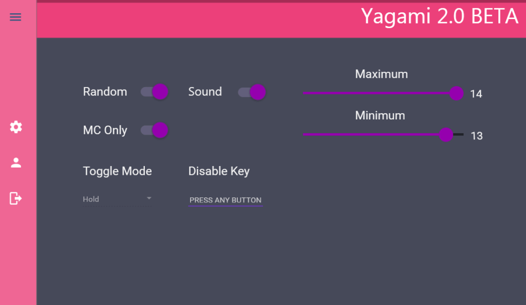 Yagami Главное меню