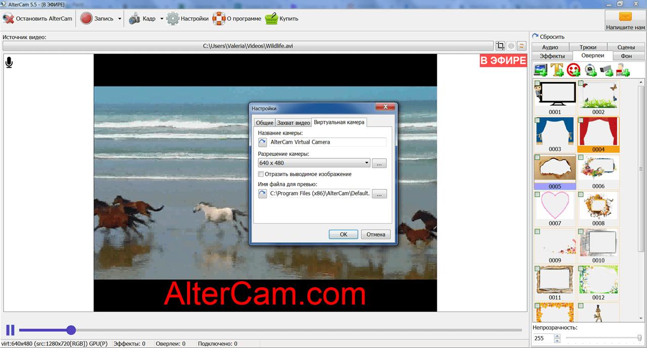 AlterCam Настройки