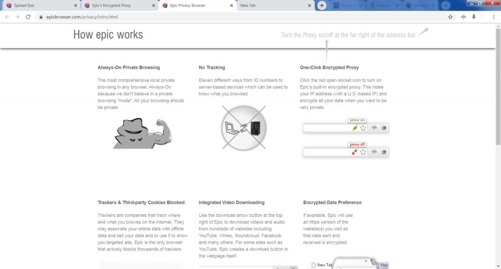 Epic Privacy Browser Вкладка