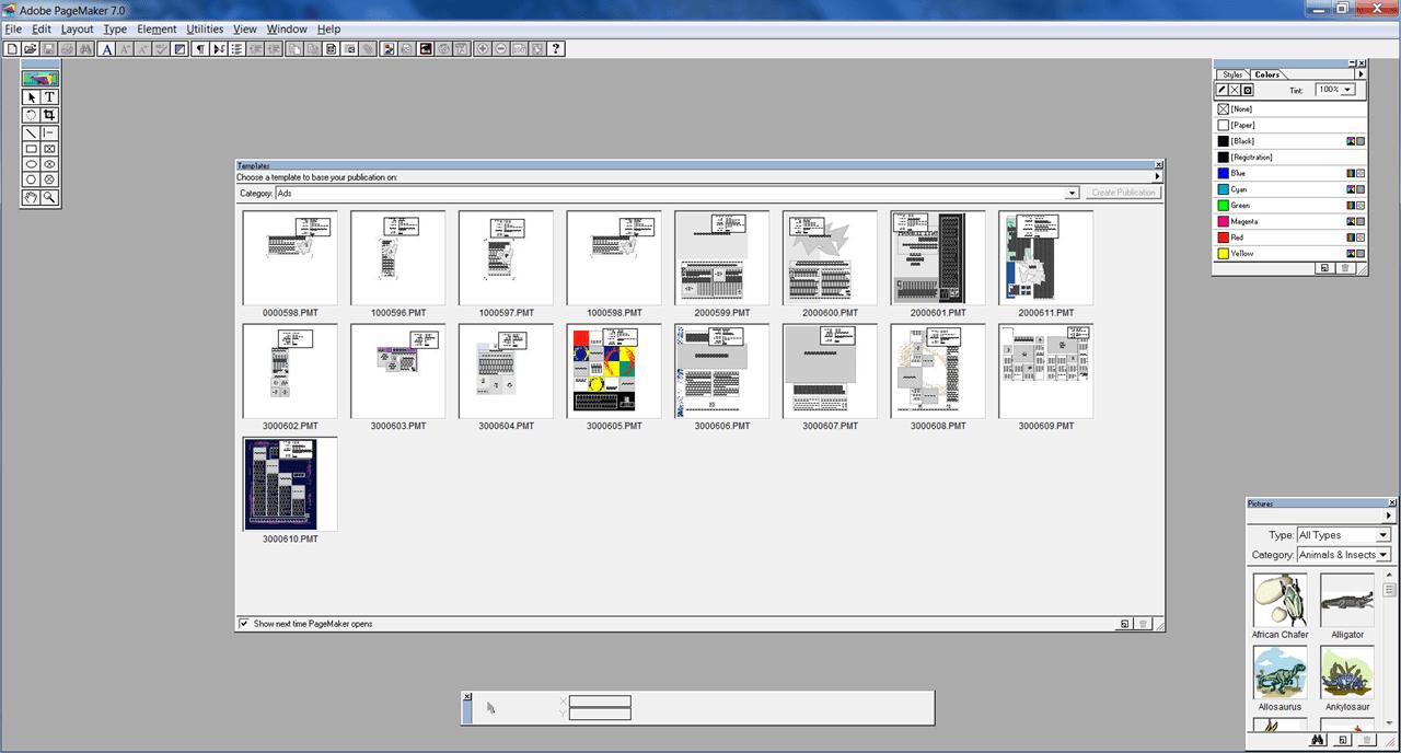 PageMaker Шаблоны