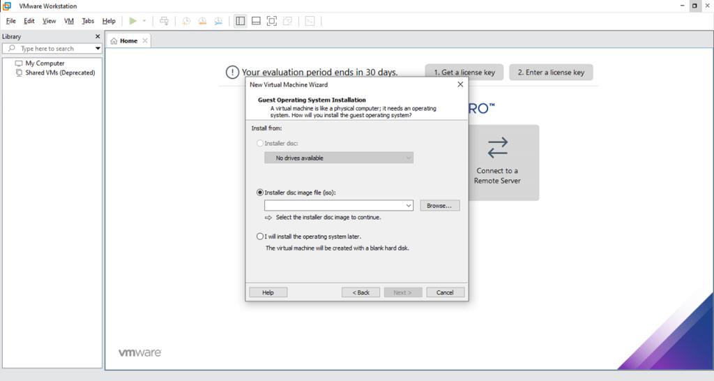 VMware Новая машина