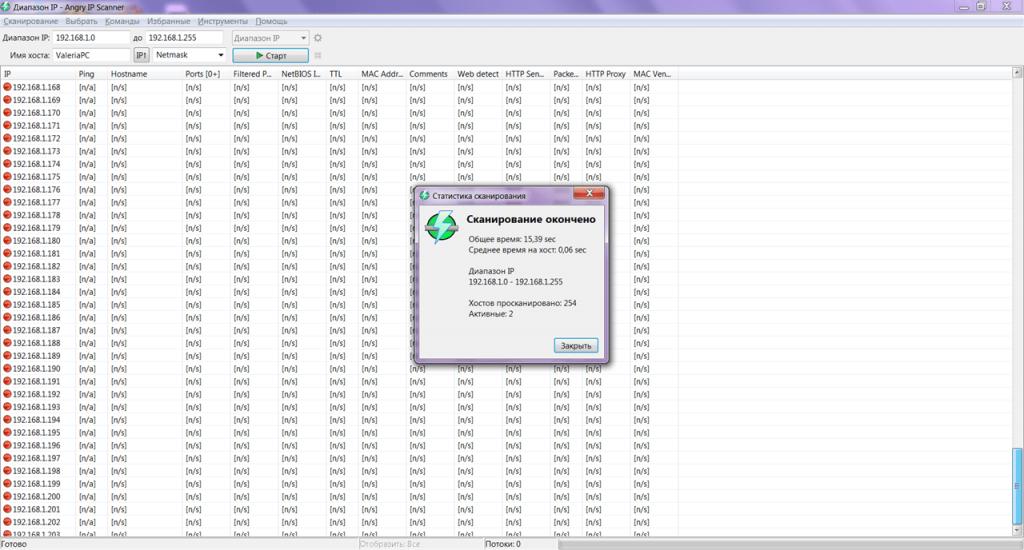 Angry IP Scanner Статистика
