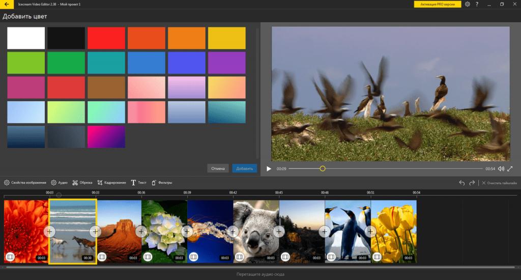 Icecream Video Editor Цвет