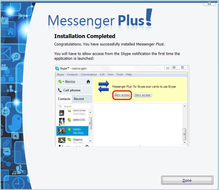 Messenger Plus Разрешение