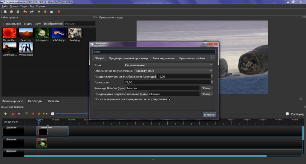 OpenShot Video Editor Параметры