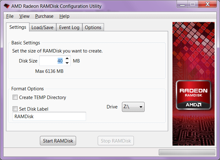 RAMDisk Настройки
