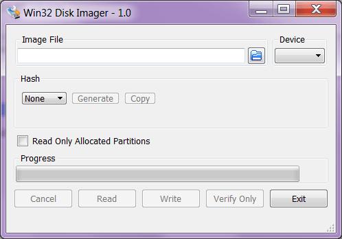 Win32 Disk Imager Запись