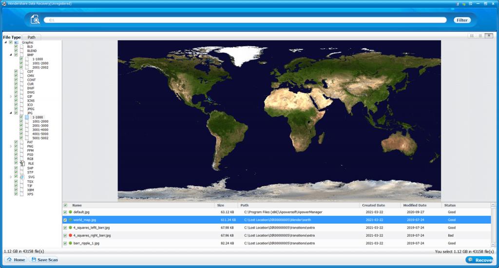 Wondershare Data Recovery Файлы