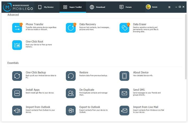 Wondershare MobileGo Инструменты
