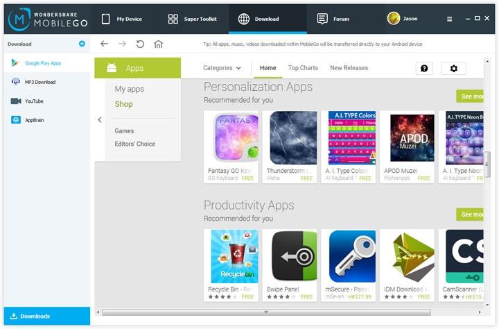 Wondershare MobileGo Приложения
